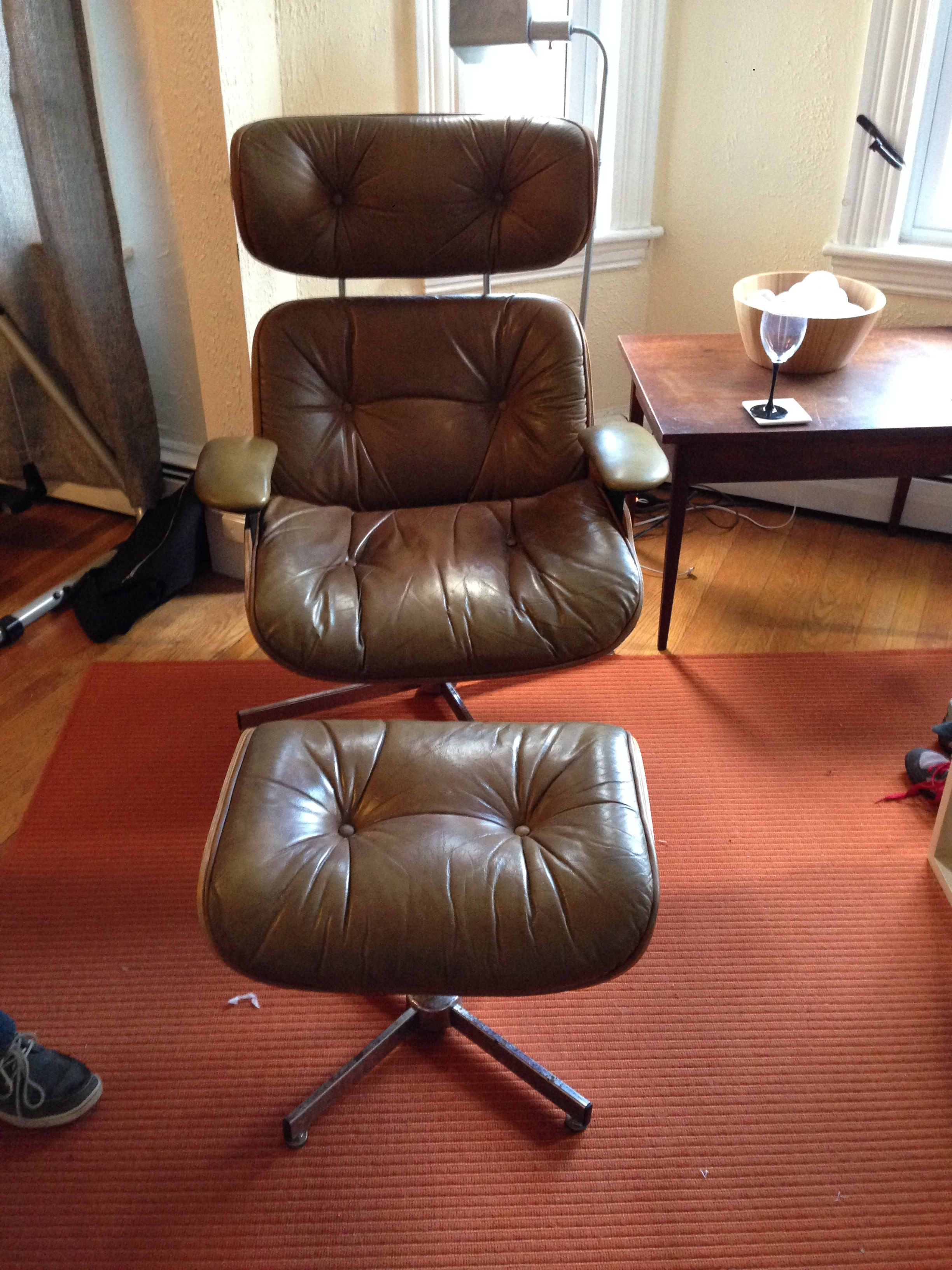 I Found 2 Of These Matching Early 60u0027s Selig Plycraft Chairs With Ottomans  On Craigslist For Super Cheap. I Have Always Wanted An Old Eames Lounge  Chair But ...